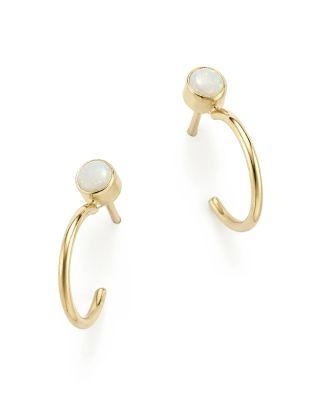 ZoË Chicco 14k Yellow Gold Huggie Hoops With Opal