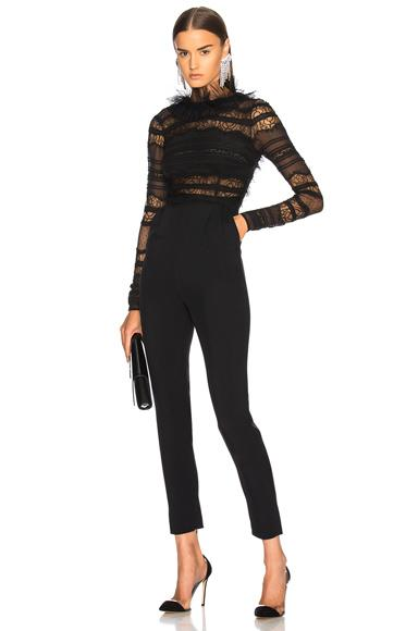 Zuhair Murad Lace Low Back Jumpsuit In Black