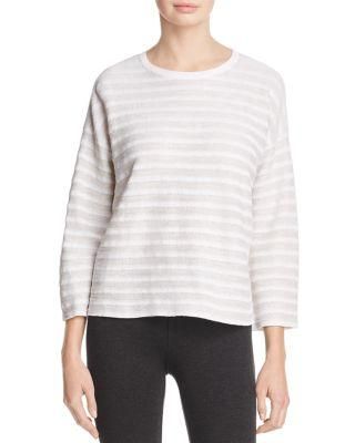 Eileen Fisher Drop Shoulder Stripe Linen Sweater In White Natural