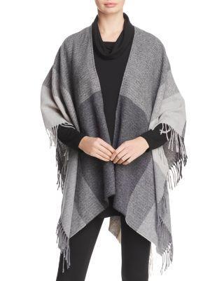 Eileen Fisher Colorblock Wool Wrap In Ash