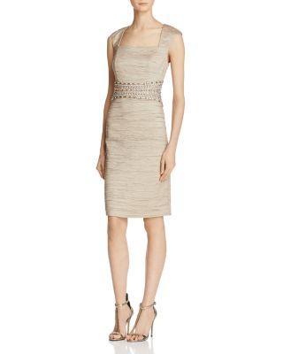 Eliza J Beaded-waist Sheath Dress In Taupe