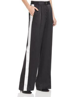 Equipment Arwen Striped Silk-satin Wide-leg Pants In Black