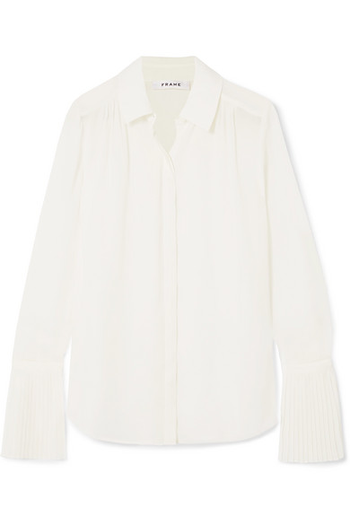 Frame Button-Front Pintucked-Cuffs Chiffon Blouse In White