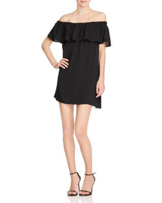 French Connection Polly Plains Off-the-shoulder Dress In Black