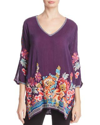 Johnny Was Araxi Floral Embroidered Tunic In Dull Berry