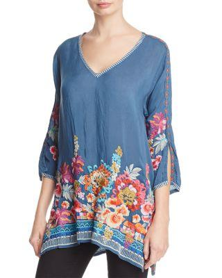 Johnny Was Araxi Floral Embroidered Tunic In Spruce