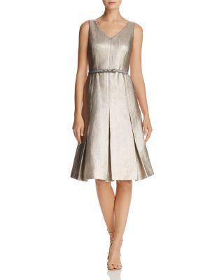 Lafayette 148 Lois Metallic Pleated Dress In Oyster