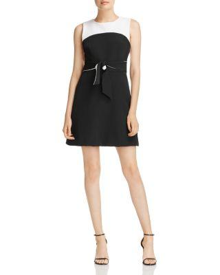 Milly Jenny Stretch Crepe Fit & Flare Dress In White/black