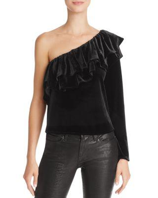 Misa Mielle One-shoulder Velvet Top In Jet Black