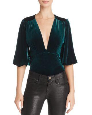 Misa Reem Velvet Bodysuit In Green