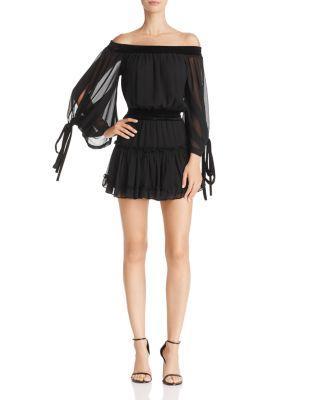 Misa Monique Off-the-shoulder Chiffon Dress With Velvet In Black