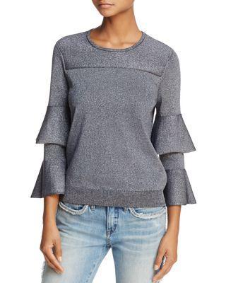 Parker Jayla Tiered Fluted-sleeve Sparkle Sweater In Gunmetal