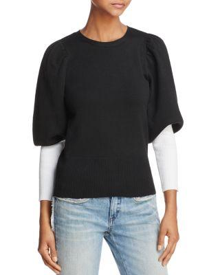 Parker Risa Contrast-color Sleeve Sweater In Black