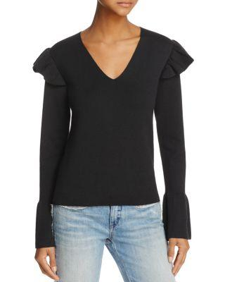 Parker Lacy Ruffled-shoulder Sweater - 100% Exclusive In Black