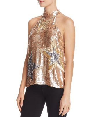 Parker Vika Sequin Star Top In Blush