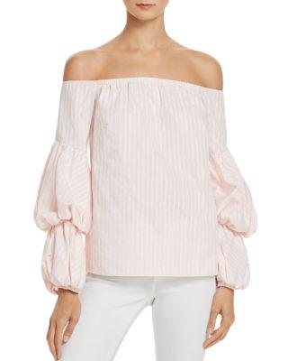 Petersyn Lily Metallic Stripe Off-the-shoulder Top In Paramount