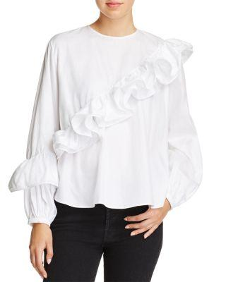 Petersyn Jessica Asymmetric Ruffled Shirt In White