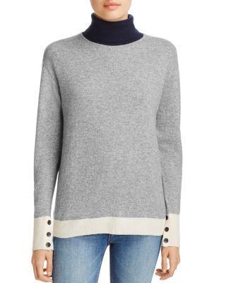 Rag & Bone Rhea Turtleneck Colorblocked Wool-cashmere Sweater In Gray Heather