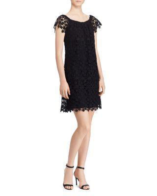 Ralph Lauren Lauren  Convertible Lace Dress In Black