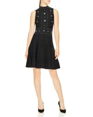 Sandro Matti Embellished Knit Dress In Black