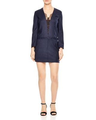 Sandro Enora Striped Lace-trimmed Mini Dress In Navy Blue