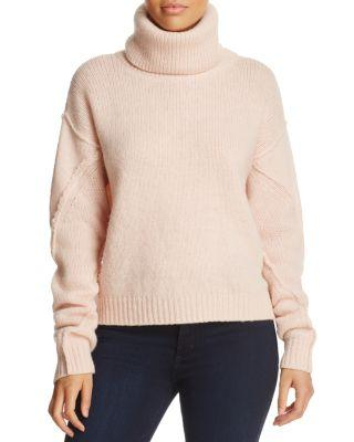 Tory Burch Eva Detachable Turtleneck Sweater In Porcelain Pink