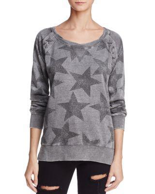 Vintage Havana Star Print Lace-up Sweatshirt In Gray/charcoal