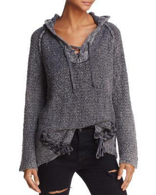 Vintage Havana Lace-up Marled Hoodie Sweater In Black