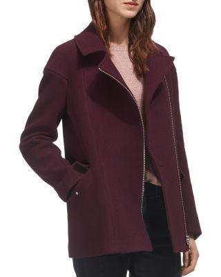 Whistles Maddie Biker-style Coat In Burgundy