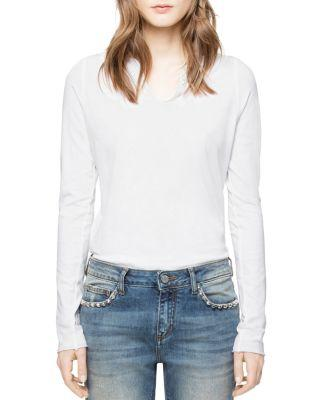 Zadig & Voltaire Tunys Embroidered Henley Tee In White