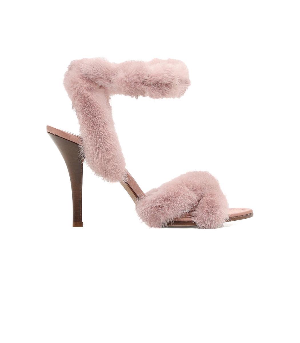 Valentino Garavani Light Pink Mink Fur Sandals