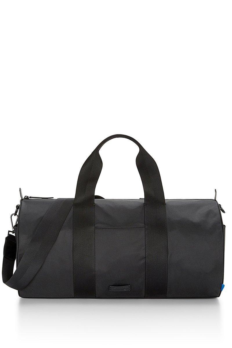 Rebecca Minkoff Canvas Duffle Bag | Navy Leather Trim Duffle |  In Black
