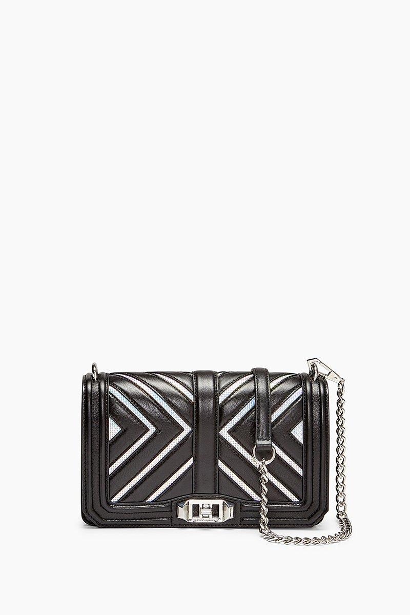 Rebecca Minkoff Chevron Love Crossbody In Black