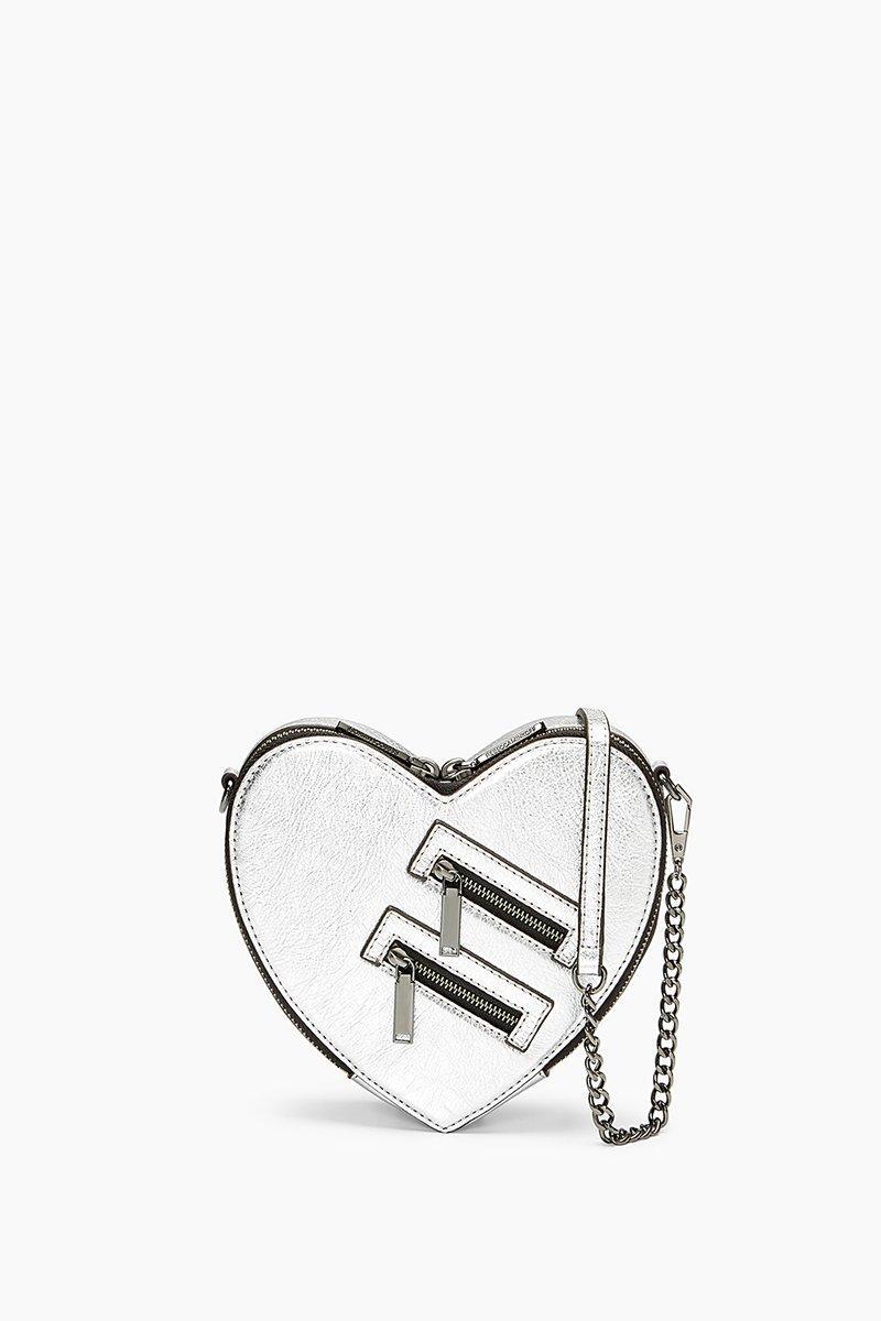 Rebecca Minkoff Jamie Heart Crossbody In Silver