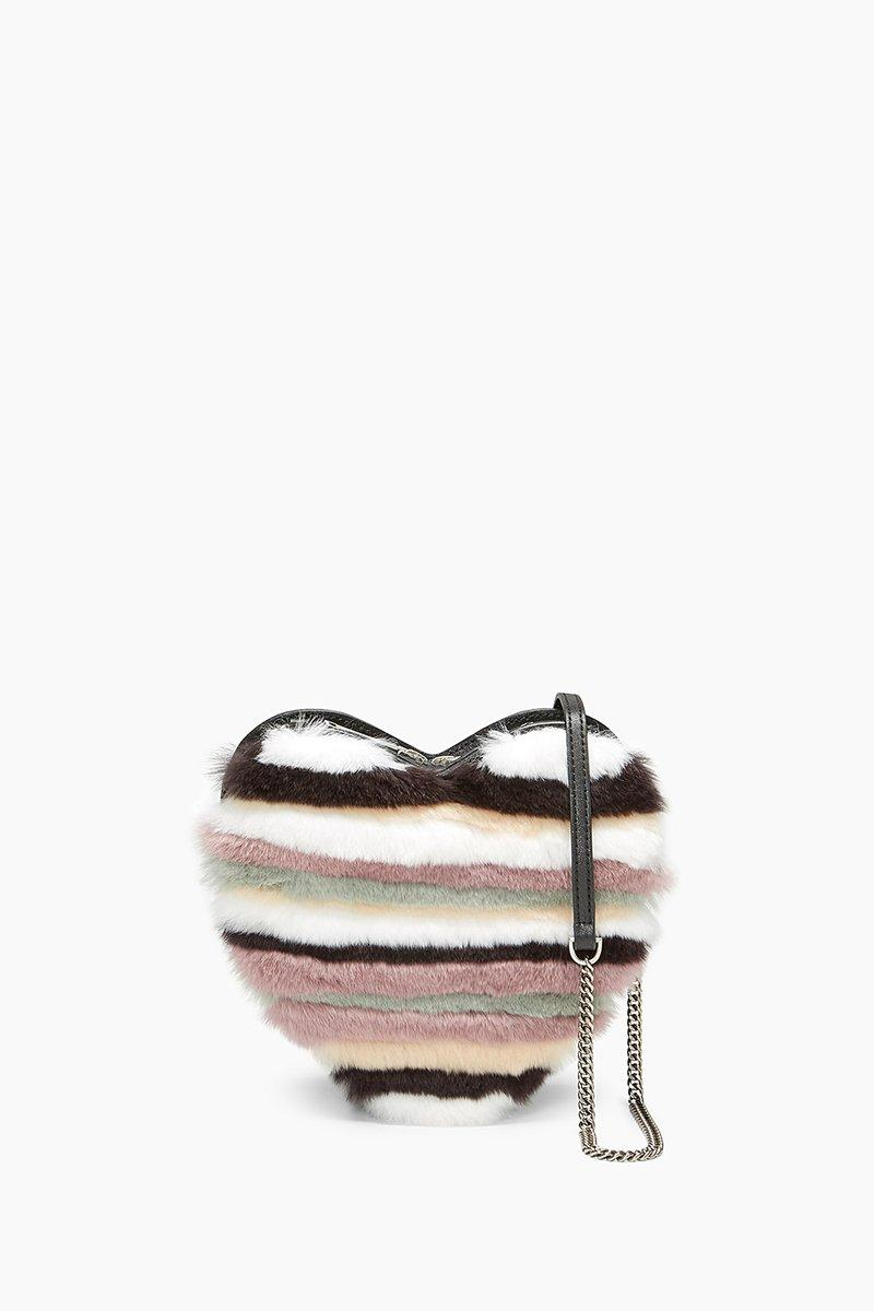 Rebecca Minkoff Heart Fur Crossbody In Neutral Multi