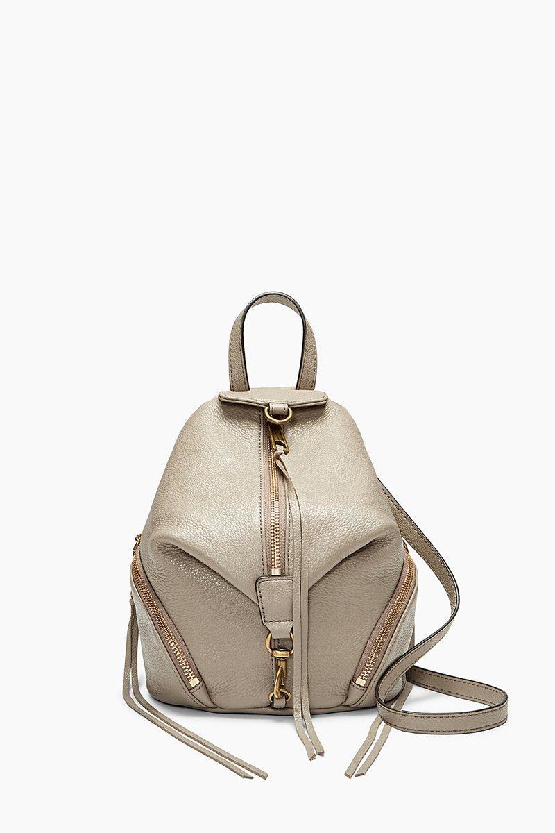 Rebecca Minkoff Convertible Mini Julian Backpack In Taupe