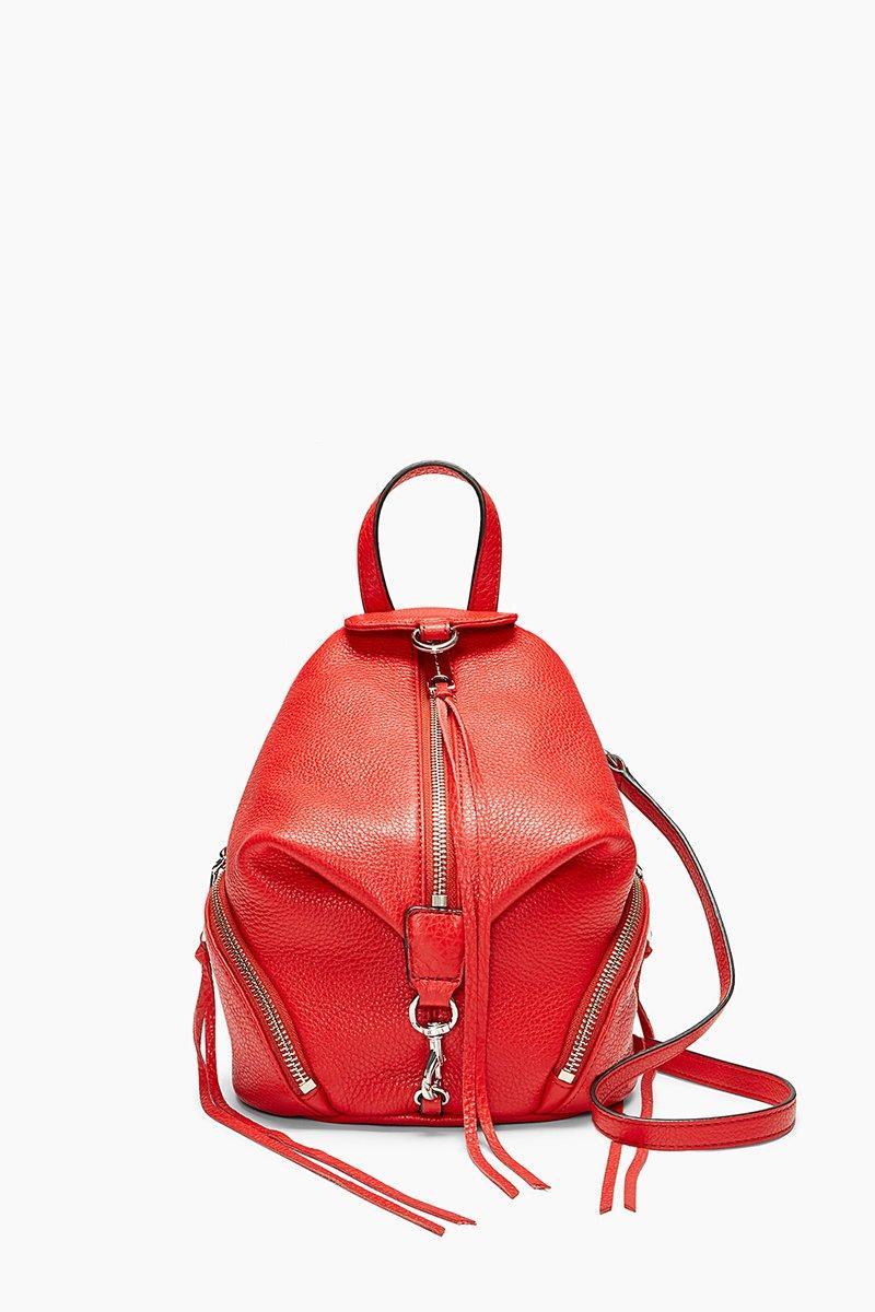 Rebecca Minkoff Mini Julian Nubuck Leather Convertible Backpack - White In Carnation Red
