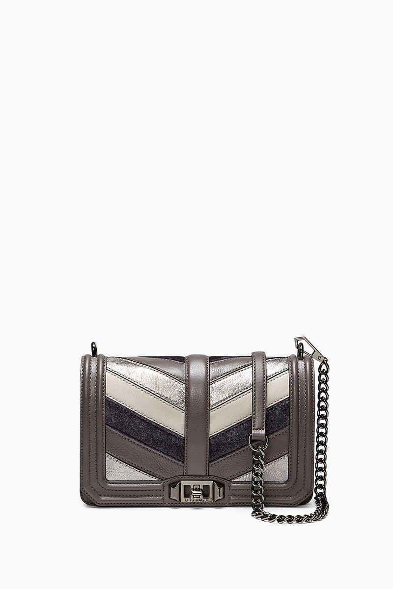 Rebecca Minkoff Patchwork Chevron Quilted Love Crossbody In New Grey