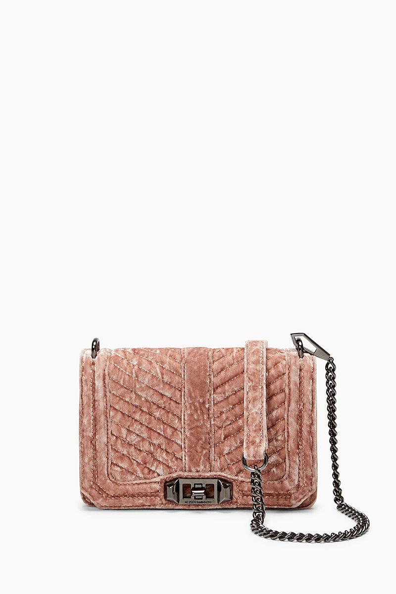 Rebecca Minkoff Velvet Chevron Quilted Small Love Crossbody In Berry Smoothie