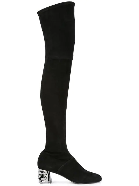 Casadei 50mm Maxi Chain Stretch Suede Boots, Black