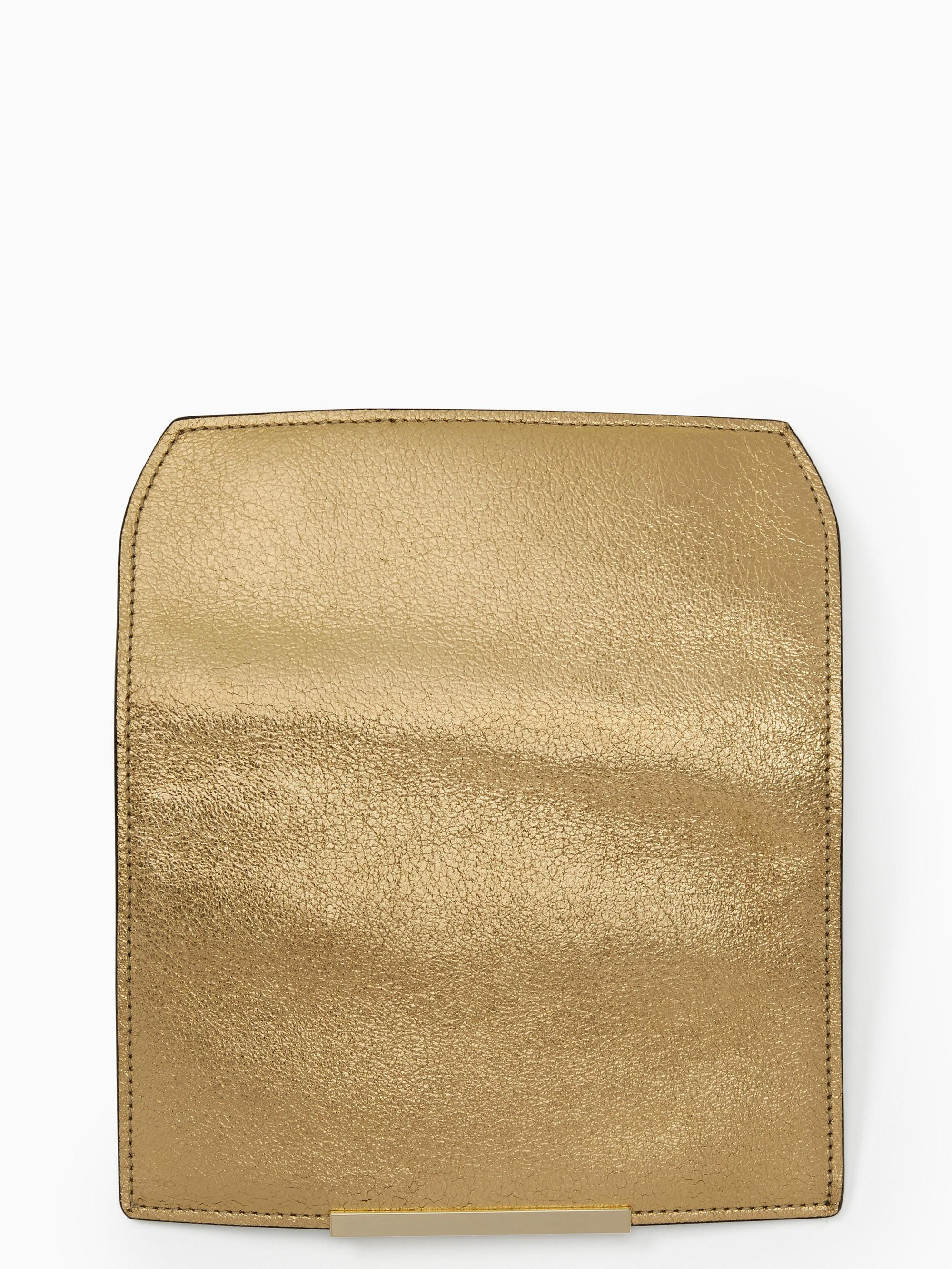 Kate Spade Make It Mine Metallic Pebble Flap In Gold