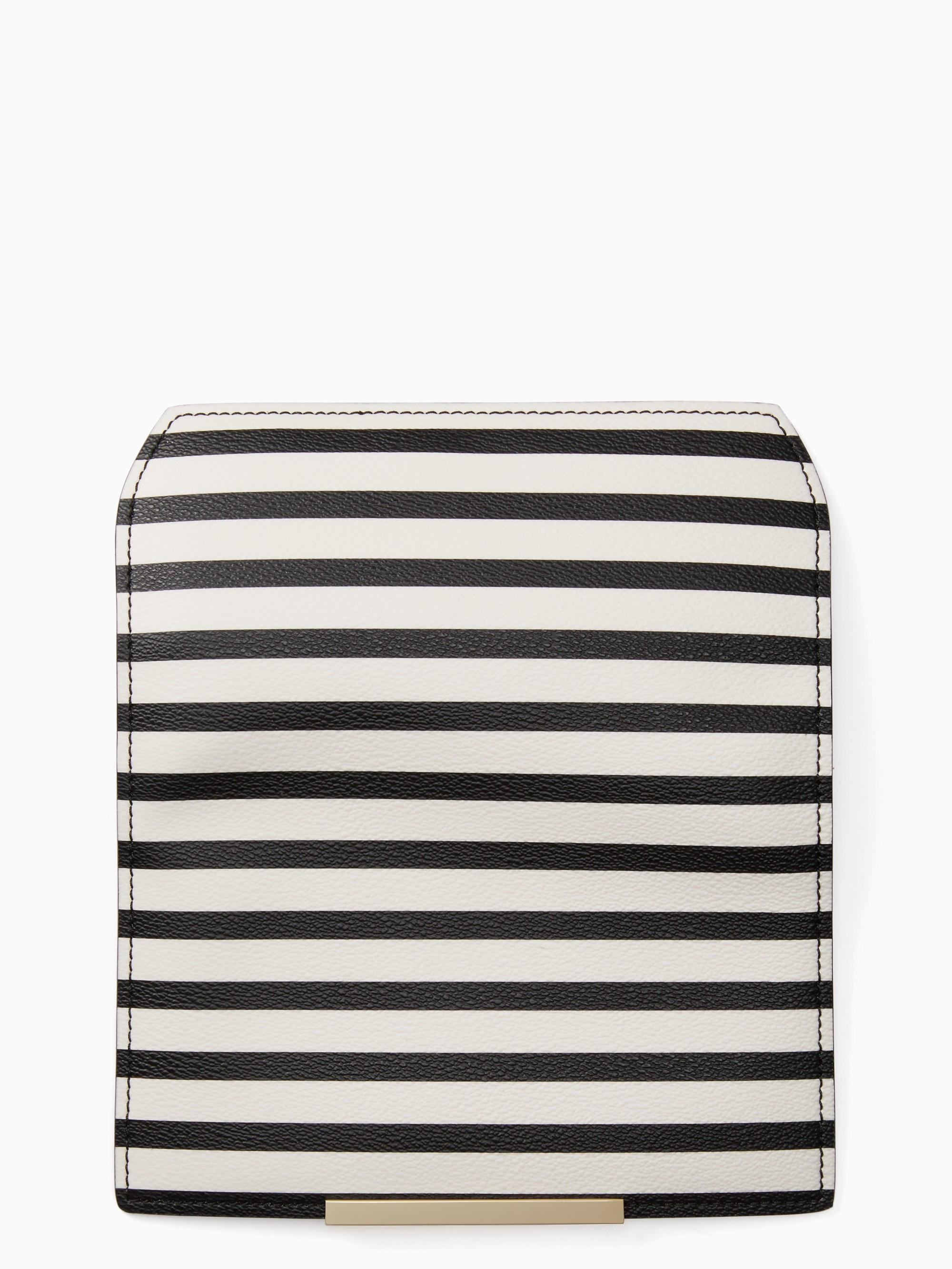 Kate Spade Make It Mine Stripe Flap In Cement/black
