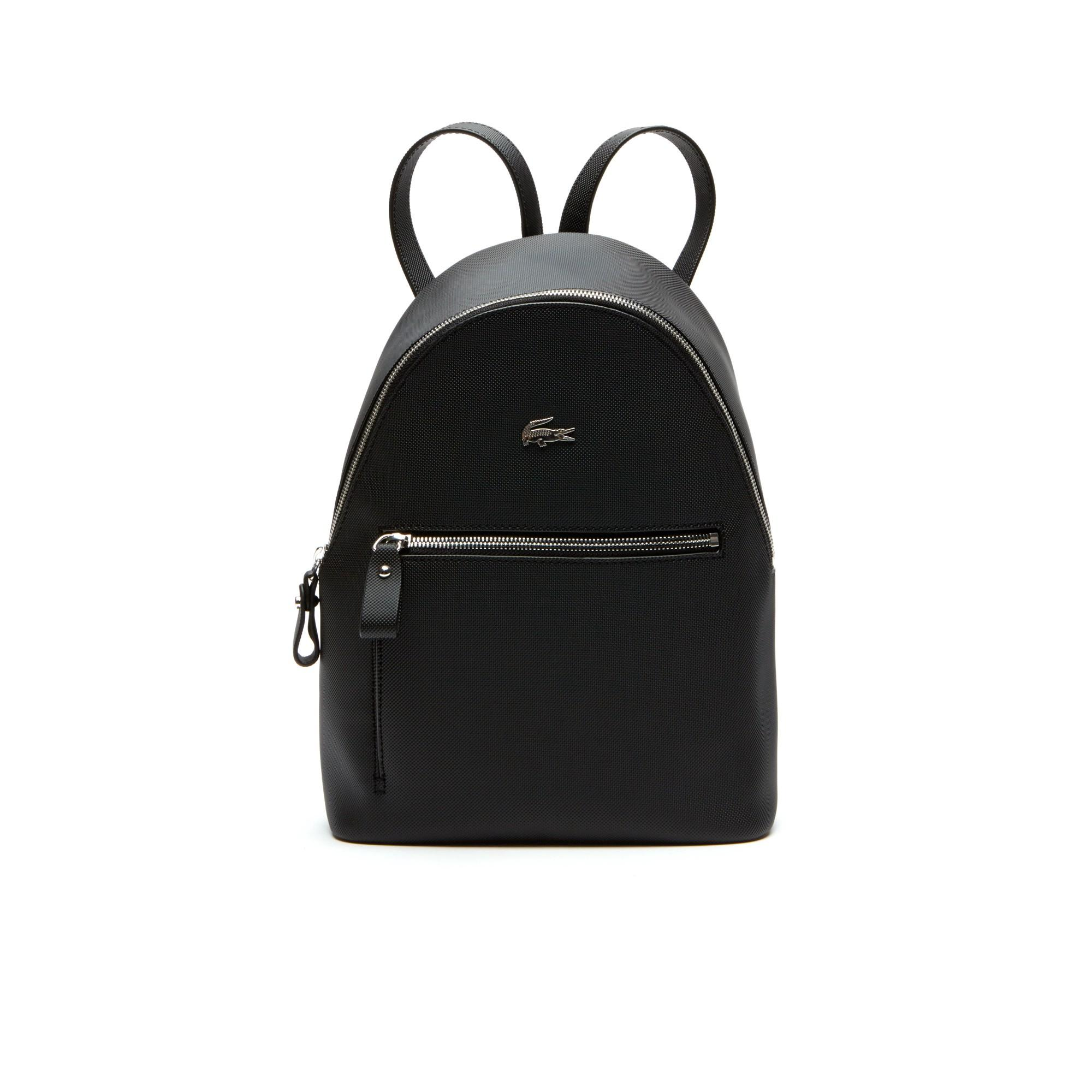 Lacoste Women's Daily Classic Coated PiquÉ Canvas Backpack In Black