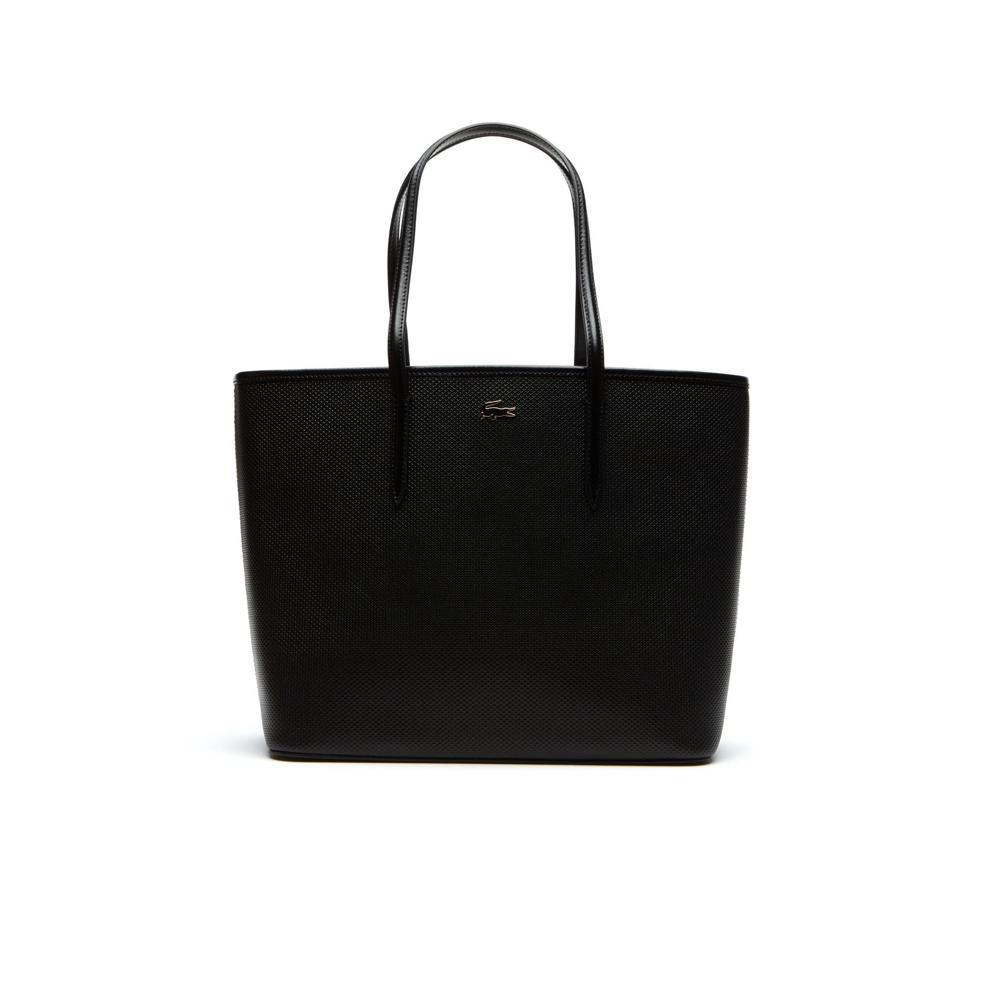 Lacoste Women's Chantaco Piqué Leather Tote Bag In Black