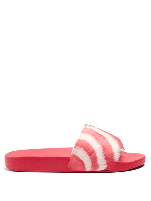 Valentino Slide Sandal With Feathers In Pink White