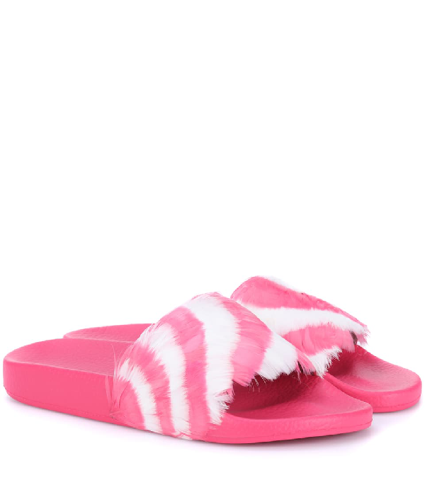 Valentino Striped Feather Embellished Slides In Pink