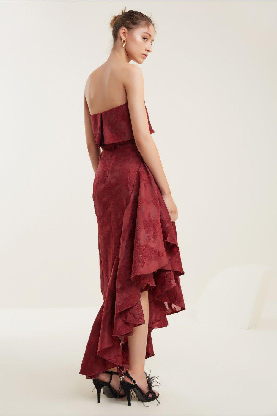 C/meo Collective Ember Gown In Ruby