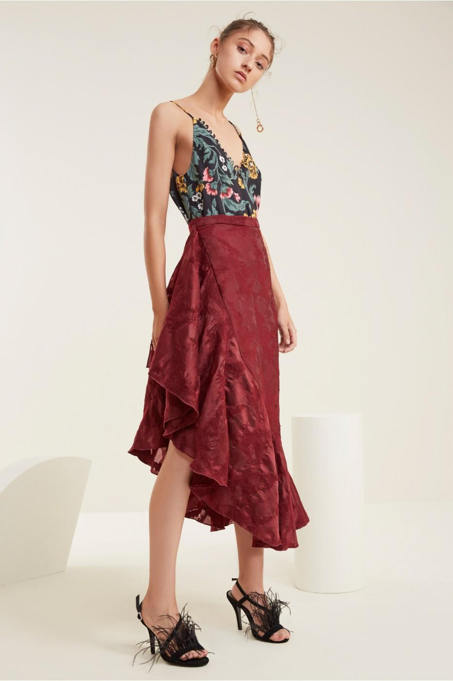 C/meo Collective Ember Skirt In Ruby