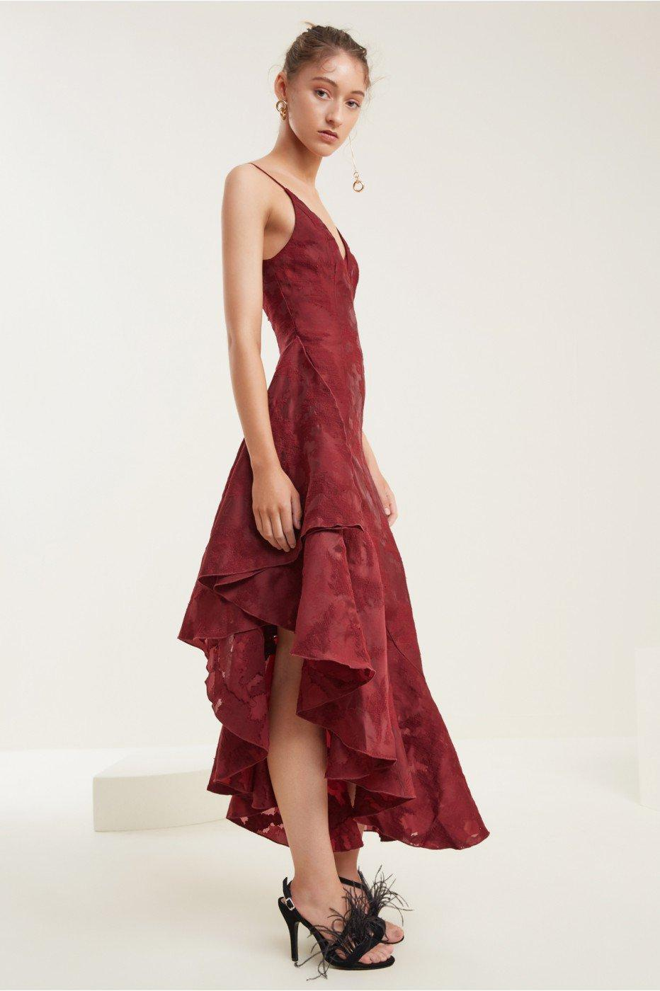 C/meo Collective Ember Midi Dress In Ruby