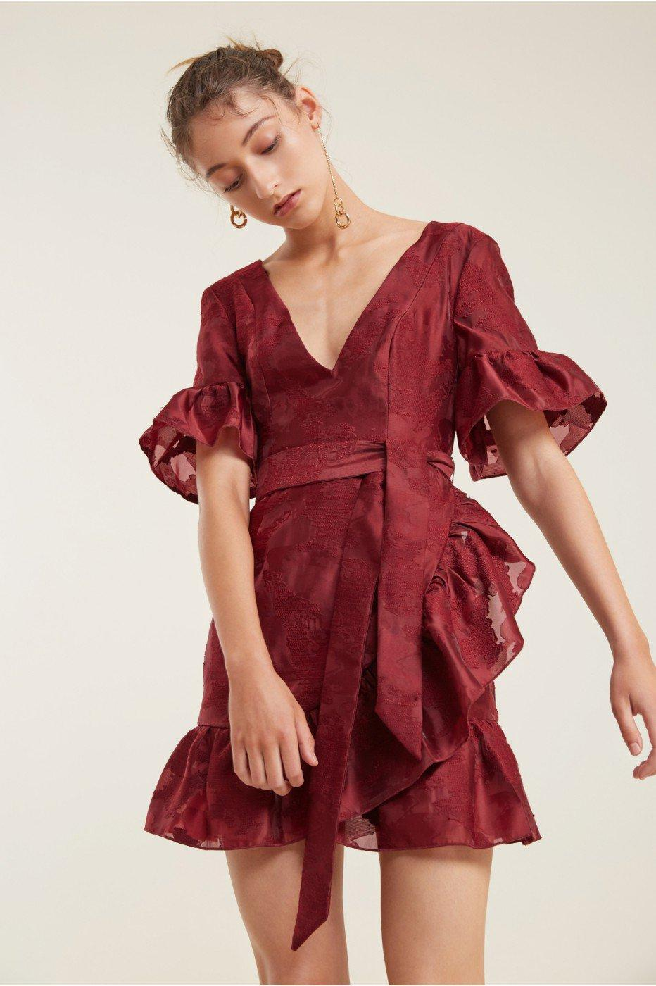 C/meo Collective Ember Mini Dress In Ruby